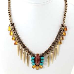 Fossil Necklace Boho Amber Statement Necklace